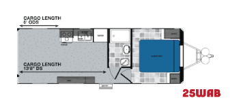25WAB travel trailer toy hauler floorplan