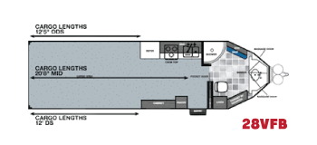28VFB v-nose toy hauler floorplan